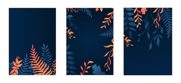 Conjunto de design floral de gradiente
