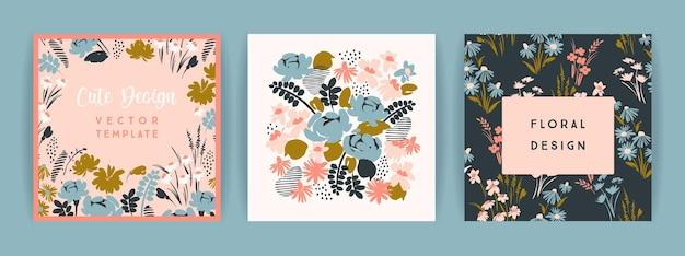 Conjunto de design floral de vetor. modelo de cartão, cartaz, folheto, decoração para casa e outros usos. Vetor Premium