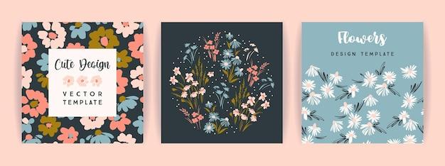 Conjunto de design floral de vetor. modelo de cartão, cartaz, folheto, decoração para casa e outros usos.