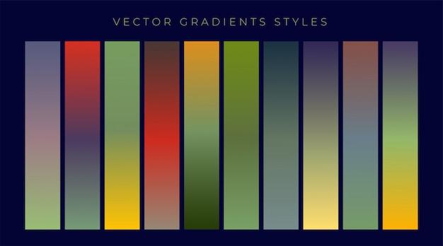Conjunto de design gradientes vintage