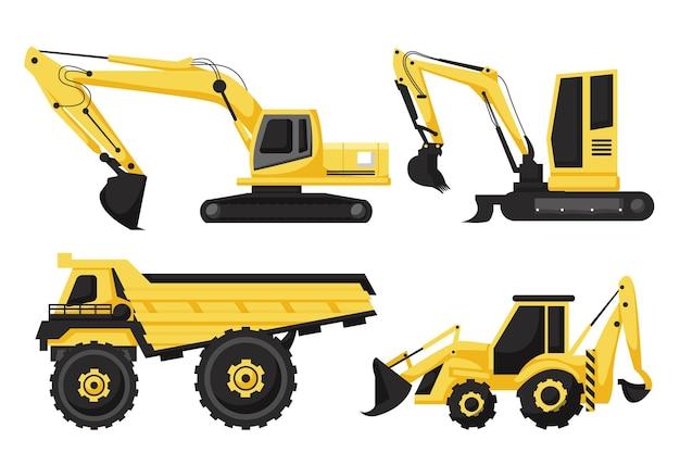 Conjunto de design ilustrado de escavadeira