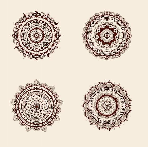 Conjunto de design mandala de detalhes altos decorativos