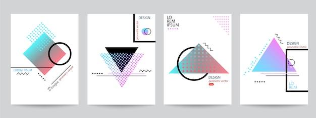 Conjunto de design minimalista de capas com gradientes de meio-tom de formas geométricas