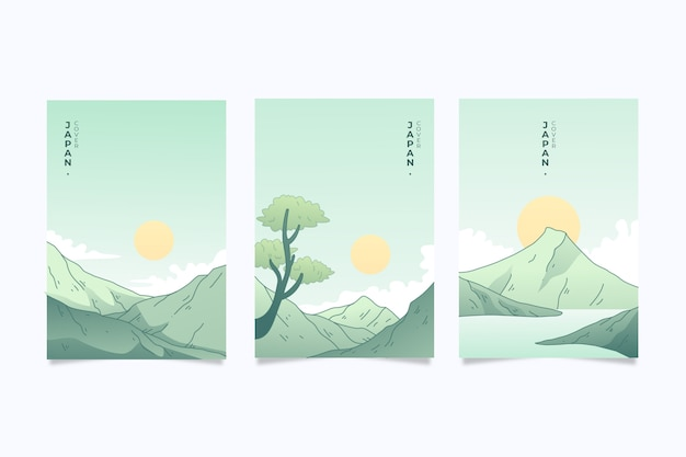 Conjunto de design minimalista de capas japonesas