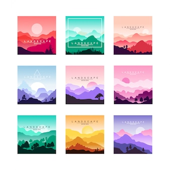 Conjunto de design minimalista plana paisagens originais com montanhas, colinas, florestas.