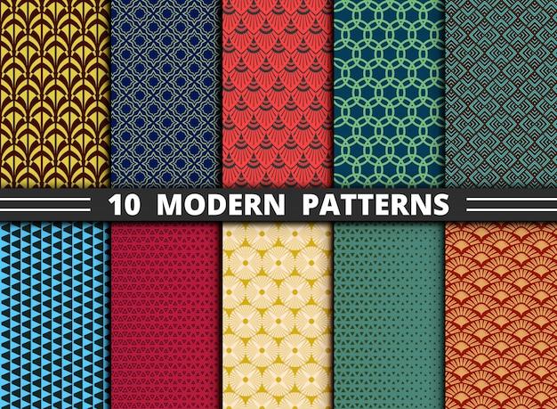 Conjunto de design moderno abstrato padrão colorido.