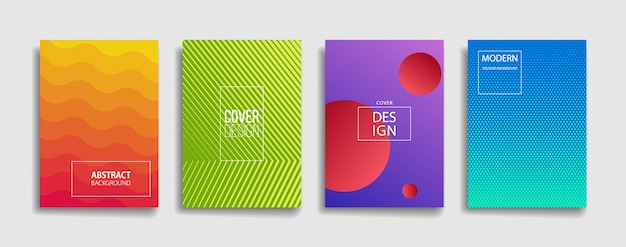 Conjunto de design moderno brilhante gradiente cor abstrata linha fundo capa