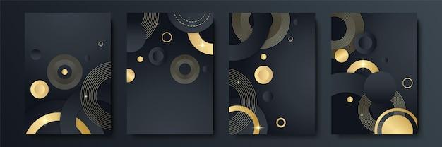 Conjunto de design moderno de capa de listra preta. padrão de linha diagonal dinâmica de ouro criativo de luxo. fundo formal de vetor premium para brochura comercial, cartaz, caderno, modelo de menu