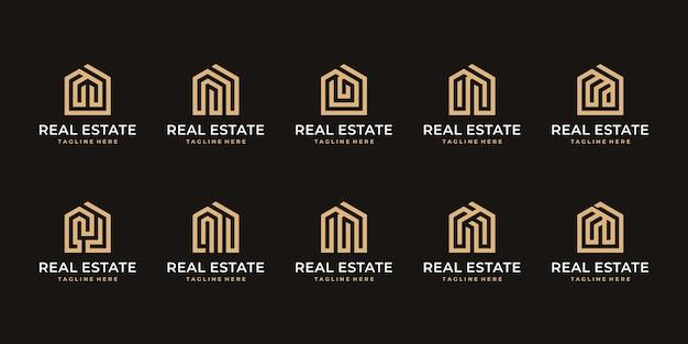 Conjunto de design moderno de logotipo para casa,