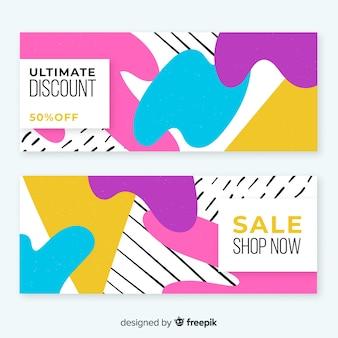 Conjunto de design moderno modelo de banner de vendas