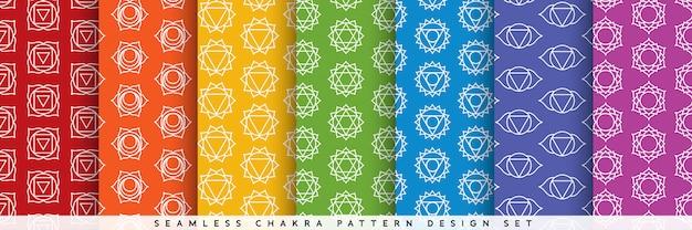 Conjunto de design padrão de chakra sem emenda