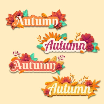 Conjunto de design plano de adesivos de outono