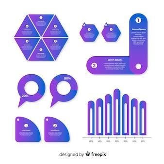 Conjunto de design plano de elemento infográfico