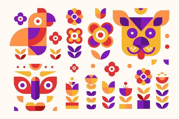 Conjunto de design plano de elementos geométricos simples