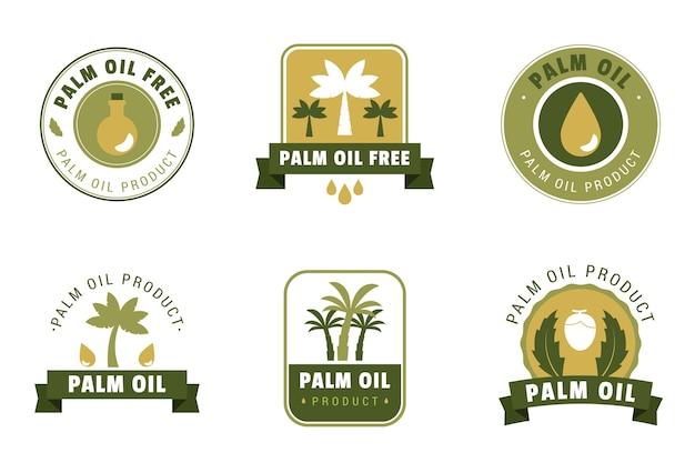 Conjunto de design plano de emblemas de óleo de palma