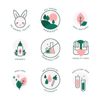 Conjunto de design plano de emblemas sem crueldade contra animais