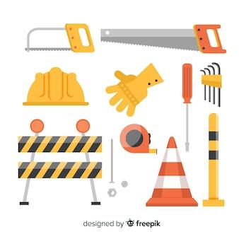 Conjunto de design plano de equipamento de construção