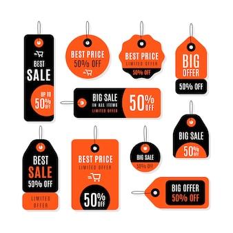 Conjunto de design plano de etiqueta de vendas