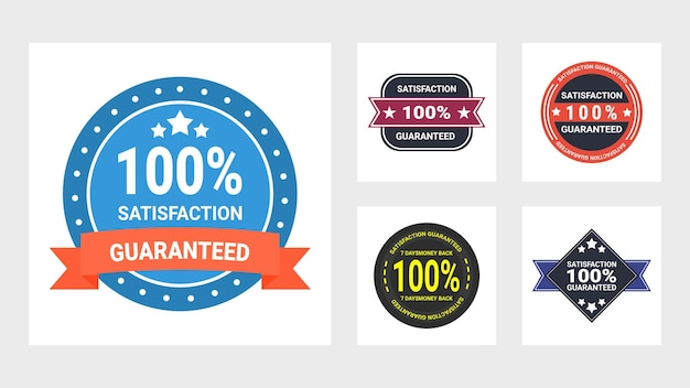 Conjunto de design plano de etiquetas de garantia
