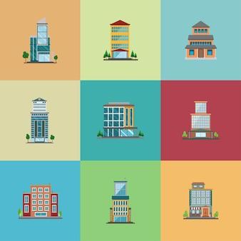 Conjunto de design plano de hotel