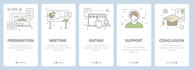 Conjunto de design plano de linha fina, banners de conceito de treinamento