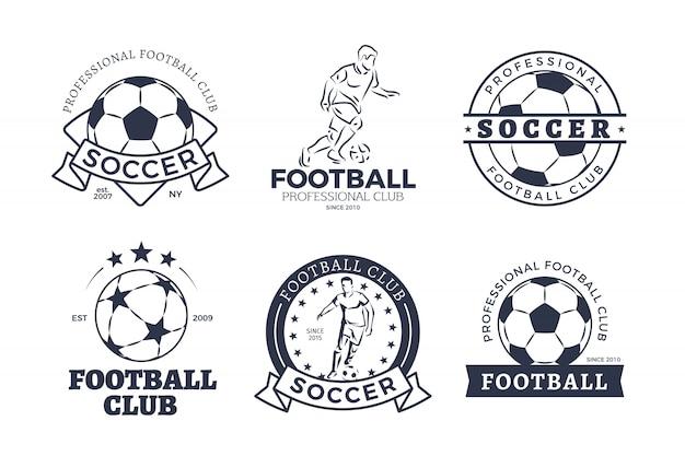 Conjunto de design plano de logotipos do clube de futebol