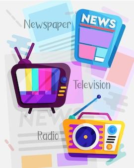 Conjunto de design plano de mídia de massa