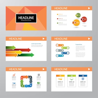 Conjunto de design plano de modelo de apresentação infográfico