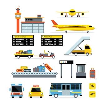 Conjunto de design plano de objetos de aeroporto