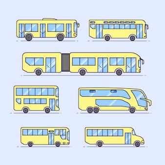 Conjunto de design plano de ônibus bonitos