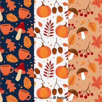 Conjunto de design plano de padrões de outono