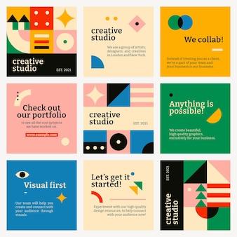 Conjunto de design plano inspirado em bauhaus em vetor de modelo de mídia social editável