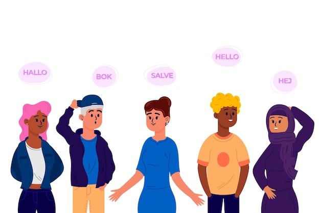 Conjunto de design plano jovens falando em diferentes idiomas