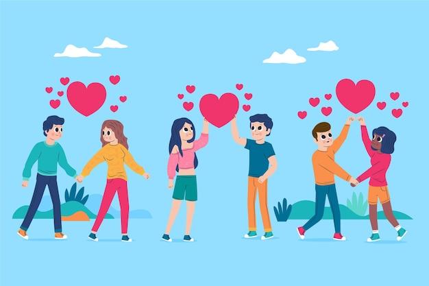 Conjunto de design plano para casal do dia dos namorados