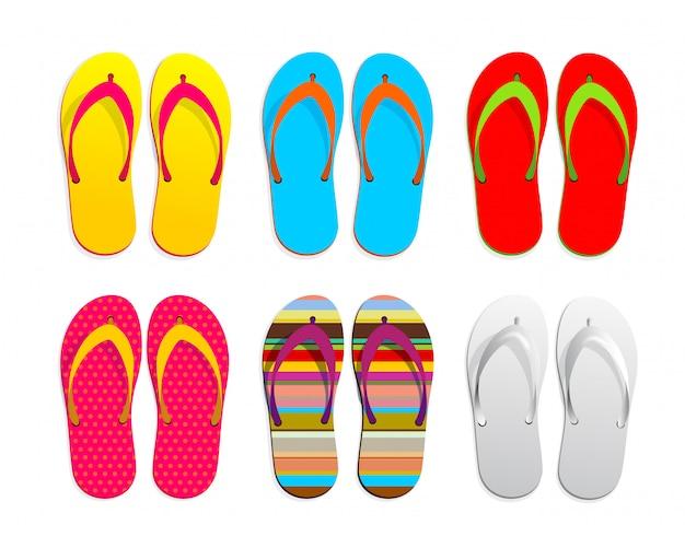 Conjunto de design realista de flip-flops. gráfico de ilustração vetorial. isolado