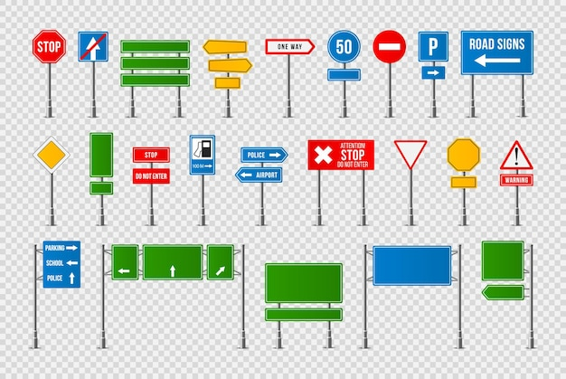 Conjunto de design realista de sinais de trânsito