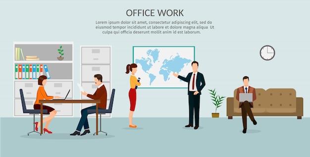 Conjunto de design simples e plana de conceito de negócio, treinamento, reunião, acordo ou parceria. caráter de empresários, grupo, diversos. escritório.