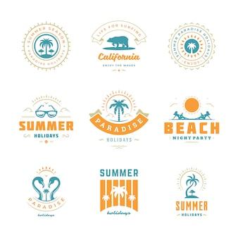 Conjunto de design tipografia retrô de verão férias logotipos.