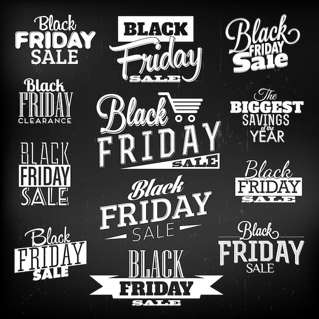 Conjunto de design tipográfico de sexta-feira negra