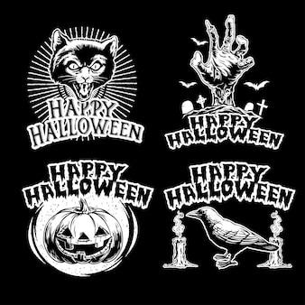 Conjunto de design vintage de halloween