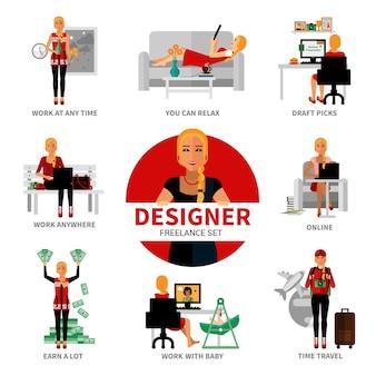 Conjunto de designer freelancer