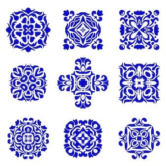 Conjunto de designs clássicos de azulejos. azulejo boho vintage