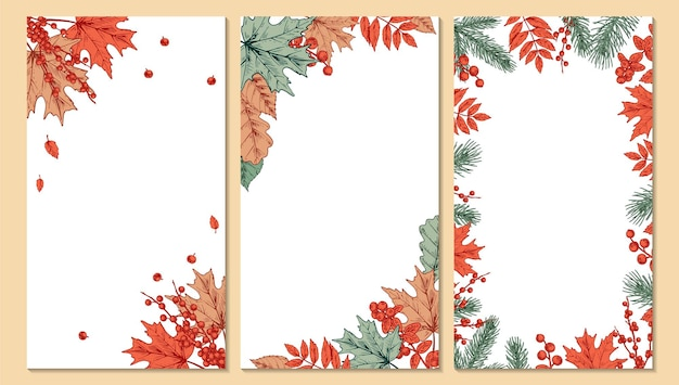 Conjunto de designs coloridos de outono