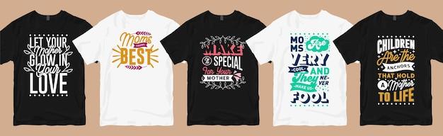 Conjunto de designs de camisetas para mães, citações de mães com letras de coleção gráfica de camisetas