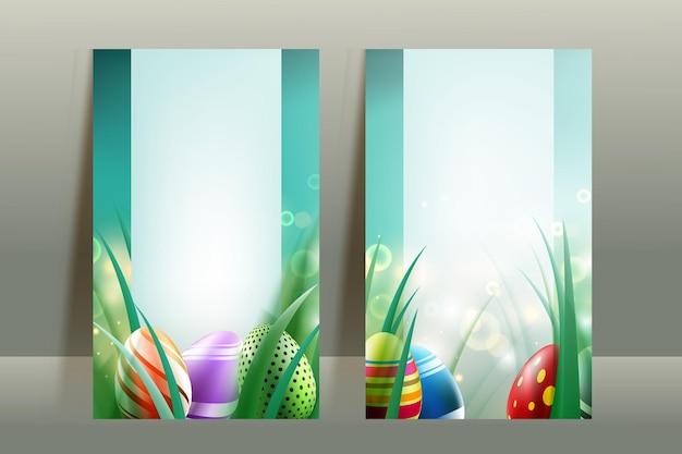 Conjunto de designs de cartão de ovos de páscoa