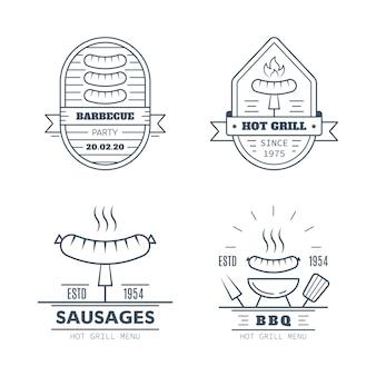 Conjunto de designs de emblemas de churrasco isolados no fundo branco