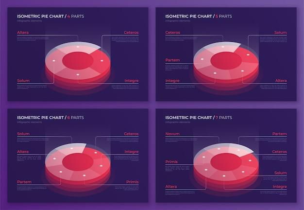 Conjunto de designs de gráfico de pizza isométricos, modelos modernos para a criação de infográficos, apresentações, relatórios, visualizações. amostras globais.