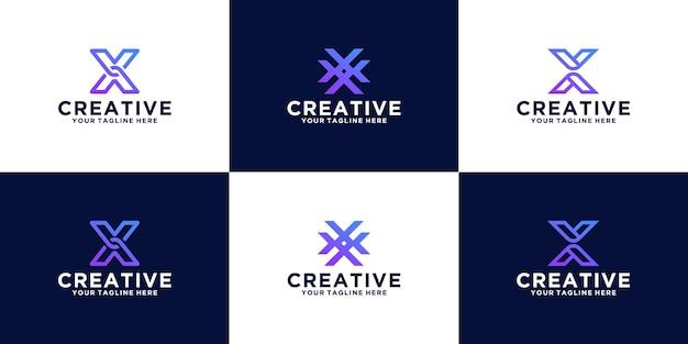 Conjunto de designs de letra x inicial de design de logotipo para empresas de negócios e tecnologia