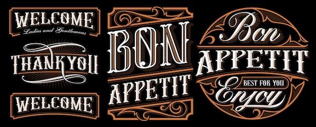 Conjunto de designs de letras vintage para catering, cozinha, café e restaurantes. caligrafia com palavras; bom apetite, bem-vindo e obrigado. todos os objetos estão em grupos separados.