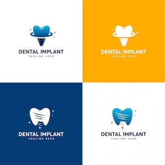 Conjunto de designs de logotipo de implante dentário, modelo de logotipo de atendimento odontológico
